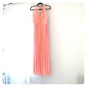 BCBGMAXAZRIA Halter Baby Pink Evening Dress